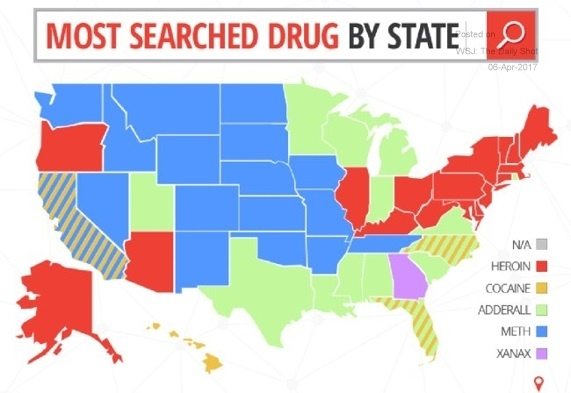 drug searched on google by state